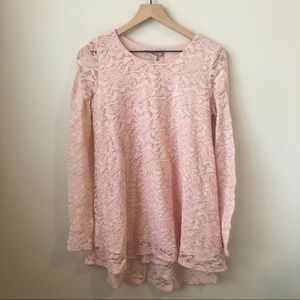 Forever 21 Pink Lace Long Sleeve Mini Dress Sz M